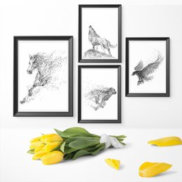 Painting eagles online shopping - Wall Art Minimalism Particle Black And White Watercolor Eagle Horse Wolf Animal Art Canvas Painting Poster Print Home Decor