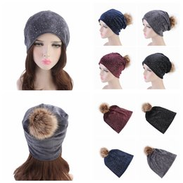 29ae02d9db063 4 Colors Rhinestones Hats For Women Winter Warm Plus Velvet Fashion Caps  With Natural Fur Pompoms Female Skullies Beanies Hat AAA1082
