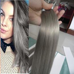$enCountryForm.capitalKeyWord Australia - Grey Silver Hair Extensions U tip hair extension 100s 100g pre bonded keratin stick tip hair extensions