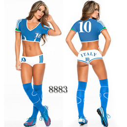 Women Costume Cheerleader UK - Sexy Lingerie Uniform Soccer Player Cheerleader World Cup Football Girl party dress Fancy Dress Costume SM8883
