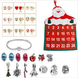 Wholesale NEW Christmas Ornaments Calendar Gift Box 14 PCS Beads 1PCS Bracelet 9 Pairs Stud Earrings Set DIY gift Jewelry making Accessory JS31