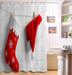 Christmas Stockings Pattern 3D Print Custom Waterproof Bathroom Modern Shower Curtain Polyester Fabric Door Mat Sets