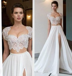 Strapless Chiffon Wedding Dresses Beaded Sash NZ - 2017 Two Pieces Sexy Sweetheart Boho Wedding Dresses Cap Sleeves High Split Summer Beach Chiffon Beaded Crystals Novia Bridal Gowns