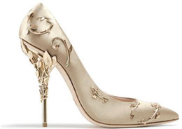 Comfortable heels for wedding online shopping - Ralph Russo pink gold burgundy Comfortable Designer Wedding Bridal Shoes Silk stain eden Heels Shoes for Wedding Evening Party Prom Shoes