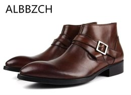 Wholesale New mens genuine leather business dress work boots fashion buckle design pointed toe ankle boots autumn winter men shoes size