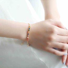 $enCountryForm.capitalKeyWord Australia - Rose Gold Color Multicolor Round Swarovski Elements Crystal Link Bracelets for Women Summer Style Jewellery Gift Dropshiping