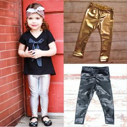 $enCountryForm.capitalKeyWord NZ - Spring Baby Pants Golden Silver Black 3 Colors Boys Girls Leggings European and American Style Children Trousers Clothing
