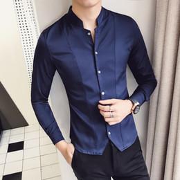 Discount korean long black hair - 2018 spring Korean Slim handsome trend hair stylist long sleeve shirt male new youth collar shirt white