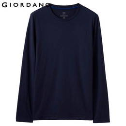 Wholesale men t shirt rib resale online - Men T Shirt Solid Ribbed Crewneck Tshirts Long Sleeves Brushed Cotton Warm Fitting Tee Winter Casual Clothing Hot Sale