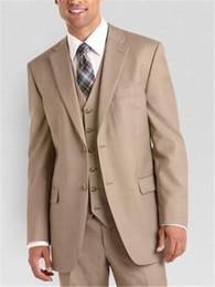 Suits Two Slits NZ - Custom Design Side Slit Two Buttons khaki Groom Tuxedos notched Lapel Groomsman Best man Suits(Jacket+Pants+vest+Tie)