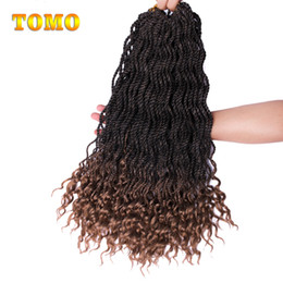 """crochet braids 2019 - TOMO 18"""" Long Curly Senegalese Twist Braid Ombre Braiding Hair Curly Crochet Braids Hair Extensions For African Ame"""