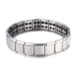 Venda quente de energia magnética pulseira de saúde para mulheres homens estilo de saúde banhado a prata de aço inoxidável pulseiras presentes moda jóias atacado