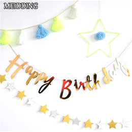 Event & Party Gold And Silver Happy Birthday Bunting Birthday Party Decoration Baby Show Birthday Flag Bunting Decoration Superior Materials