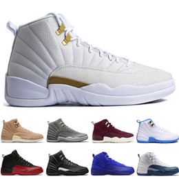 China 12 12s men basketball shoes Wheat Dark Grey Bordeaux Flu Game The Master Taxi Playoffs University Gamma French Blue Gym Red Sports sneakers supplier taxi yellow light suppliers