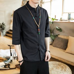 Linen Slim Shirts Australia - Chinese style summer fashion man's Pure color linen Short sleeve shirt high-grade male comfortable slim fit leisure shirt M-5XL