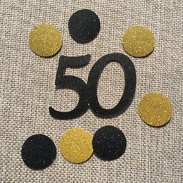 Happy 50th 16th 90th Age Birthday Anniversary Party Decoration Black 40 Gold Circles Table Confetti