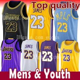 2018-2019 Nueva temporada Hombres Jóvenes Niños 23 LeBron James Jersey Los Angeles Lakers 77 Luka Doncic James 2 Ball 0 Kuzma la ciudad Baloncesto Jersey