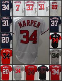 Washington Nationals Men Jerseys # 34 Bryce Harper 37 Stephen Estrasburgo 7 Trea Turner 20 Daniel Murphy Juventude Mulher Jersey