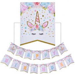 Brillante Bunting Banner Banderas Unicornio Feliz Cumpleaños Banner Baby Shower Kids Party Decor Unicornio de Dibujos Animados Favores de Fiesta Suministros