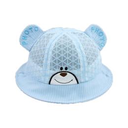236042ec4a0 Wholesale Kids Bucket Hats UK - Cute Bear Plaid Mesh Fisherman Ear Cap  Panama Outdoor M5996