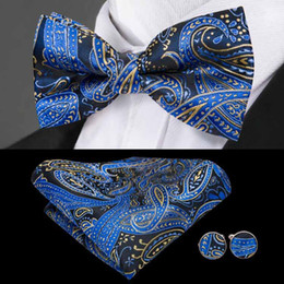 Опт Быстрая доставка галстук на флоте Blues Paisley Jacquard тканый шелковый галстук галстук набор стандартных быстрых модных мужчин аксессуары LH-0724