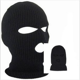 acrylic hats wholesale NZ - Winter Balaclava For Adults Mens Womens Cycling Skiing Full Face Mask With Holes Covering Caps Knit Acrylic Man Sports Beanie Hats CNY822