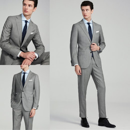 yellow jacket fabric NZ - Hot Design Business Suits For Colour Silver Harries Tweed Fabric Two Pieces (Jackets+Pant) Morning Coats Trim Fit Bridegroom Tuxeods