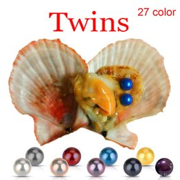 Pearl Oyster Shell Wholesale Australia - Wholesale 2019 DIY Red shell 27 colors round akoya 6-7mm Twins pearls oysters Jewelry Decorations Vacuum Packaging Trend Gift
