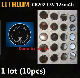 Lithium battery packaging online shopping - 10pcs CR2020 V lithium li ion button cell battery CR Volt li ion coin batteries tray package