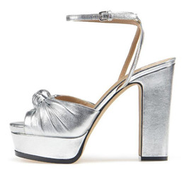 Nude Woman Black Tie NZ - Summer New Fashion Women Peep Toe Tie Design High Platform Chunky Heel Sandals Ankle Strap Thick High Heel Sandals Nude Silver Black Shoes