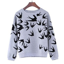 Wholesale 2016 Brand New Fashion Women Swallow Printing Long Sleeve Sweaters Pullover Tops