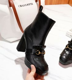 $enCountryForm.capitalKeyWord NZ - Newest Brand Girls Platform Ankle Boots Black Leather Chunky Heel 95mm Winter Knight Martin Fashion Boots Round Toe Winter Shoes With Box