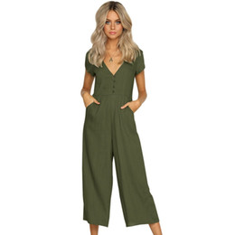 83aa078a710 Ankle-length Wide Leg Pants Women Jumpsuit Deep V Sexy Pocket Fashion Jumpsuits  Women Button Casual Rompers Female