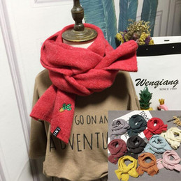 wholesale solid cotton scarves 2019 - Kids Winter Warm Knitted Scarves and Wraps Girls Sweet Cactus Embroidery Solid Color Scarf Casual Solid Large Long Scarf