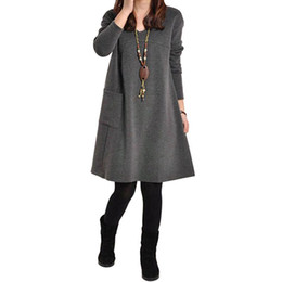 Chinese  2017 Fashion Autumn Winter Women Long Sleeve Pocket Dress Solid O Neck Casual Loose Party Dresses Vestidos Plus Size S-XXXXXL manufacturers