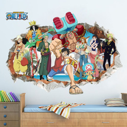 one piece sticker wall Australia - & Cartoon Animation One Piece Luffy Broken Wall Stickers Boys Room Bedroom Home Decor 3d Vinyl Posters Wall Decal Movie Mural