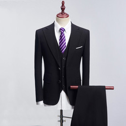 best male suits NZ - 2018 Men Suits Black Peaked Lapel Male Slim Fit Groomsman Groom Tuxedos Wedding Suits For Man Casual Prom Blazer Best Man Jacket+Pants+Vest