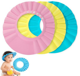 Wholesale Adjustable Shower cap protect Shampoo for baby health Bathing waterproof caps hat child kid children Wash Hair Shield Hat C044