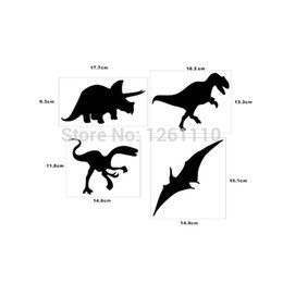Discount rear window art HotMeiNi Wholesale 20pcs lot4x Dinosaurs Wall Art Sticker Pterodactyl Tyrannosaurus Tricerotops Vinyl Decal Quote Bedroo