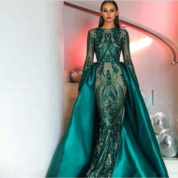 China Amazing Prom Dresses 2018 Long Sleeves Sequin Lace Dark Green Detachable Train Satin Tail Prom Dresses Vestidos De Festa Formal suppliers
