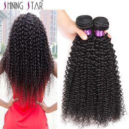 brazilian kinky curly hair weave ombre 2019 - Human Hair Bundles with Closure Shining star brazilian kinky curly virgin human hair 3 bundles with 4*4 lace closures ch