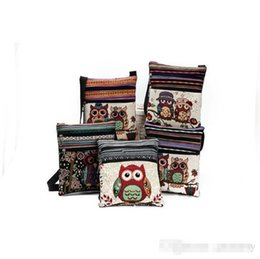 Wholesale Canvas Owl Shoulder Bags cartoon Casual Messenger bag Owl folk custom Striped bag style top quality K0104