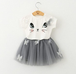 Wholesale Girls Clothing Sets New Summer Fashion Style Cartoon Cat Printed T Shirts Net Veil Dress Girls Clothes Sets