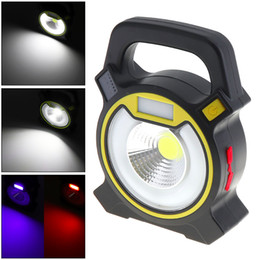 led floodlight emergency rechargeable lamp UK - Portable Waterproof 5W 2400LM COB LED Floodlight Work Light Emergency Lamp with 4 Modes for Outdoor Camping Garden Flood Light