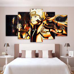 $enCountryForm.capitalKeyWord Australia - Printed Modular Picture Large Canvas 5 Panel Anime Naruto Framework Painting For Bedroom Living Room Home Wall Art Decor