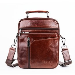 Discount small wax bags - Oil Wax Cowhide Men Business Top Handle Bags Fashion Retro Genuine Leather Handbag Tote Small Cross Body Messenger Shoul
