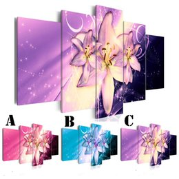 Multi Set Canvas Prints Australia - Wall Art Picture Printed Oil Painting on Canvas No Frame Multi-picture Combination 5pcs set Home Decor Extra Mirror Border 3 Shining Lily