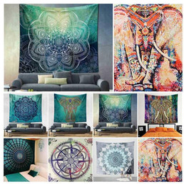 150 * 130 cm poliéster bohemio Tapiz Mandala Toallas de playa Hippie Throw Yoga Mat Toalla de poliéster indio colgando de la pared decoración KKA4499