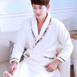Wholesale Men's Robes white nightgowns pajamas thermal casual warm thicken #couple lovers male Coral fleece home sleep wear autumn winter