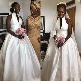 4b9aa99e5 2018 Stain Beach Wedding Dresses Cheap High Neck V Neck Empire Waist  Bohemia Bridal Gown Custom Made Hot Sale African Wedding Dress